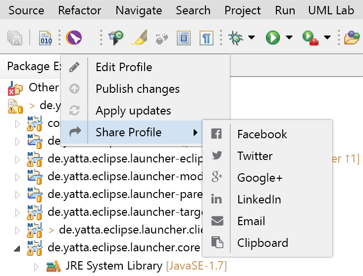 The Client-Plug-In in the Eclipse toolbar